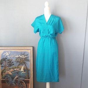Vintage dress turquoise silk